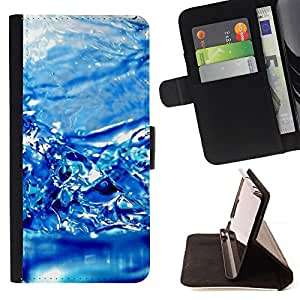 - Water Effect Blue - - Monedero PU titular de la tarjeta de cr????dito de cuero cubierta de la caja de la bolsa FOR Samsung Galaxy S4 IV I9500 RetroCandy