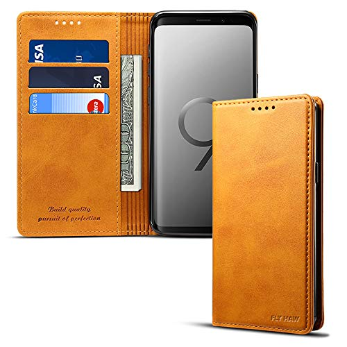 (Samsung S9 plus Smart Leather Wallet Cell Phone Card Holder Case Kickstand Protective Flip Cover,)