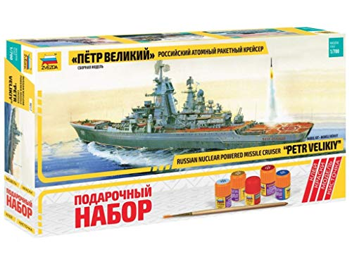 - ZVEZDA 9017 P Russian Nuclear-Powered Missile Cruiser Petr Velikiy Gift Set (Paints Included) Plastic Model Kit Scale 1/700 484 Details Lenght 15