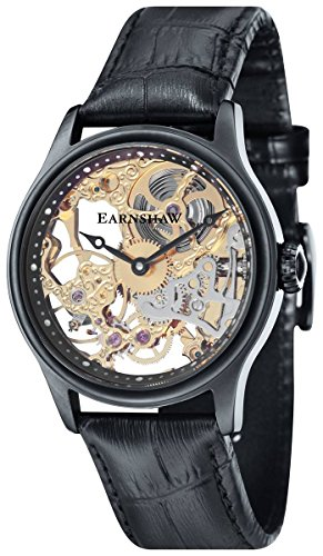 Thomas Earnshaw Mens The Bauer Mechanical Skeleton Watch - Black/Black
