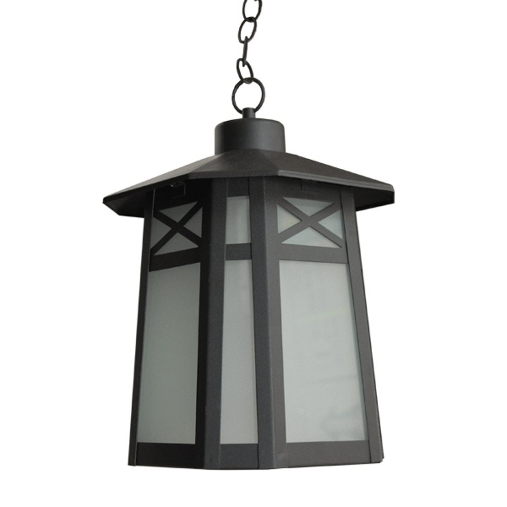 eTopLighting Liu Collection Oil Rubbed Black Body Finish Exterior Pendant Hanging Outdoor Light with Frost Glass APL1293