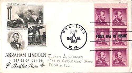 Stamp Booklet Pane (Abraham Lincoln Series of 1954-58 - 4-cent Booklet Pane Block of Stamps Original First Day Cover)