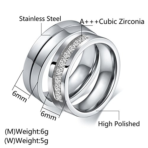 Aeici Stianless Steel Silver ''Forever Love'' Couples Promise Ring Romantic Couples Gift Women Size 9 & 10 by Aeici (Image #4)'