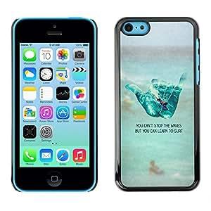 FlareStar Colour Printing Cool Hand Sign Surf Dude Beach Text cáscara Funda Case Caso de plástico para Apple iPhone 5C