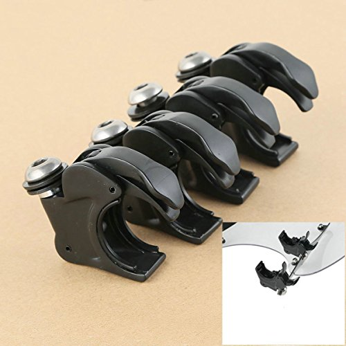 Black 4x 39mm Wind Shield Screen Clamp For Harley Dyna Glide Sportster 1000 - Hours Gardens Vic