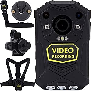 BRIFIELD® BR1 Body Camera – HD 1440p, 128GB MEMORY CARD, Night Vision, GPS, H.265 | Body Cam for Security & Personal Footage Uses | Includes Chest Harness, Shoulder Harness, KlickFast Stud & Dock