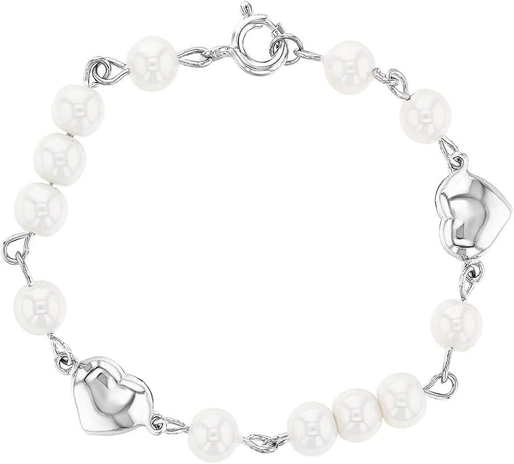 Pulsera de plata de ley 925 con corazón y perla de imitación blanca para niña de 5 cm