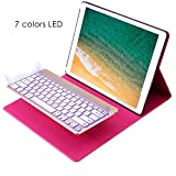 2015 iPad Pro 12.9 Keyboard + Leather case ,KIWETASO 12.9 inch Backlit Bluetooth Keyboard Folio Smart Case with Stand for iPad Pro 12.9 1st Generation(Rose Pink)