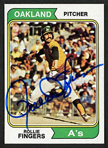 (Rollie Fingers Autographed 1974 Topps Card #212 Oakland A's SKU #153413 - Baseball Slabbed Autographed Cards)