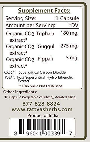 Organic Triphala Guggul - Non GMO Holistic Extract - Healthy Cholesterol and Triglyceride Levels, Digestive Support - 240 Vcaps Herbal Supplement 2 Month Supply from Tattva's Herbs