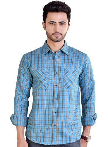 Raymon louis Men's Casual Shirt, Checkered Shirt for Men (100% Yarn Dyed Cotton) (Made in India)