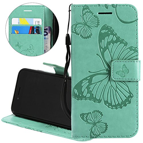 - Gostyle Flip Wallet Case for iPhone X,Slim Premium PU Leather Case with Credit Card Holder, 3D Embossed Butterfly Pattern with Kickstand Magnetic Closure Money Pouch Protective Cover,Green