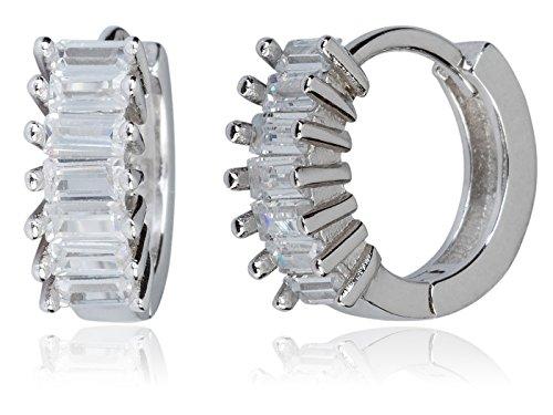 SilverLuxe Women's Rhodium over Sterling Silver Baguette Cubic Zirconia Hinge Hoop Earring - 3/4