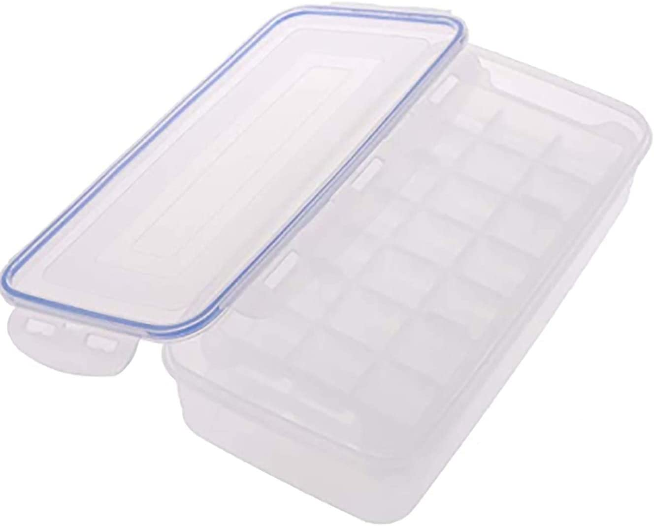 Ice Cube Trays and Ice Cube Storage Container Set with Airtight Locking Lid 2 Packs 42 Trapezoid Stackable Plastic Ice Cubes Mold Makers for Food Freezer Cool Drinking Smoothie 1.7L