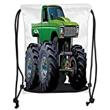 Custom Printed Drawstring Sack Backpacks Bags,Cars,Giant Monster Pickup Truck with Large Tires and Suspension Extreme Biggest Wheel Print,Green Grey Soft Satin,5 Liter Capacity,Adjustable String Closu