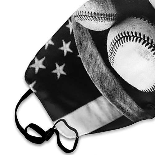 CIGOCI Comfort Mouth Masks Adjustable Elastic Band Anti-Dust Face and Nose Cover for Dust Medical Running, Boys Girls Adults (Baseball USA Flag Mouth Mask)