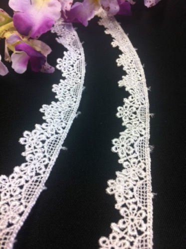 "Trim Lace Floral 3/4"" Wide Daisy Scallops Venise. 5 Yards, Choose Color. Multi-Use ex. Garments Bridals Decorations Crafts Costumes Veils Scrapbooks, White - AMORE FABRICS"