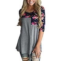 Annflat camiseta informal con bolsillo de mangas 3/4 de cuello redondo con estampado de flores para mujer