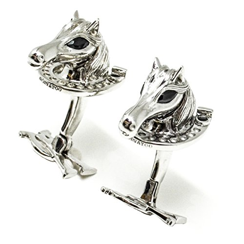 - Silver Horse Cufflinks with Onyx eyes and horseshoes