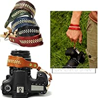 Nicad Camera Leather Wrist Strap - Comfort Padding, Enhanced Hand Grip Stability and Security for All DSLR Cameras Canon Nikon Sony Pentax Olympus (Brown)