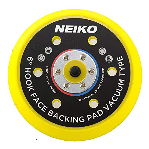 Neiko 30265A Hook and Loop Face Sanding Pad 6-inch Multi-hole Vacuum Type for Dual Action Orbital Air Sander -