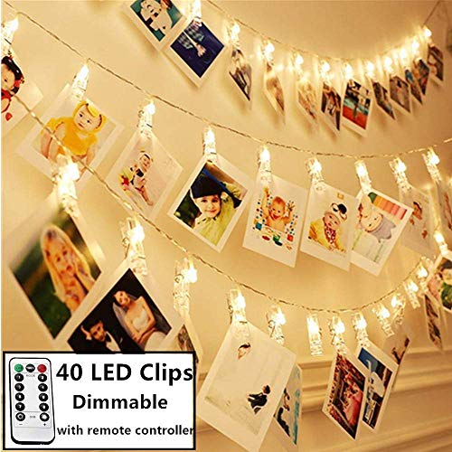 8 Modes 40 LED Photo Clip String Lights with Remote, Indoor Fairy String Lights for Hanging Photos Pictures Cards, Ideal Gift for Bedroom Decoration (USB Powered 40 LED) (Gift Birthday Girl Ideas Tween)