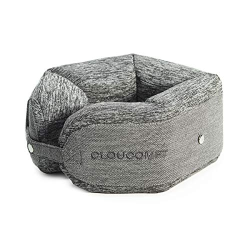 CLOUCOMFT Memory Foam U-Shaped Travel Neck Pillow Bendable Adjustable 360 Head Support, Neck Cushion for Airplane, Car, Bus or Train Travel, Long Haul Flights (Charcoal Grey)