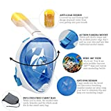 YONGQI LJR Updated 3.0 Full Face Snorkel Mask 180° Panoramic View Snorkeling Mask with Detachable Camera Mount, Anti-Fog,Anti-Leak Snorkeling Design For Adults Youth