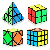Speed Cube Set, Aitey Cube Bundle 2x2 3x3 Pyramid and Skew Speed Cube Magic Smooth Cube Puzzle Toy for Kids [4 Pack]