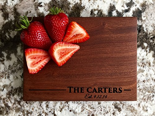 Personalized Mini Cutting Board - Decorative Small Wood Cutting Board for Housewarming Gifts, Also Bridal Shower and Wedding Gifts (6 x 8 Mahogany Rectangular, Carter Design)
