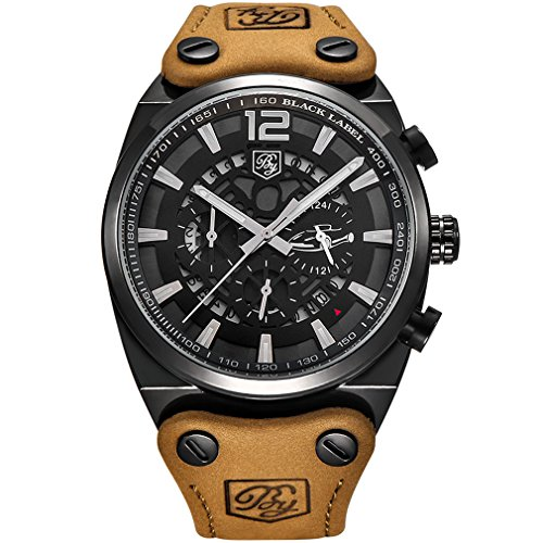 BENYAR Cool Men's Quartz Chronograph Waterproof Watches Sport Military Leather Band Strap Wrist Watch (Black White)