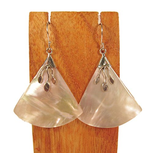 Bali Sterling Silver Fashion Earrings - Sterling Silver Mother of Pearl Shell Fan Shaped Dangle Earrings Bali Bay Trading Co