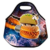 ZMvise Pizza Taco Cat Blue in Space Lunch Tote Insulated Reusable Picnic Lunch Bags Boxes For Men Women Adults Kids Toddler Nurses