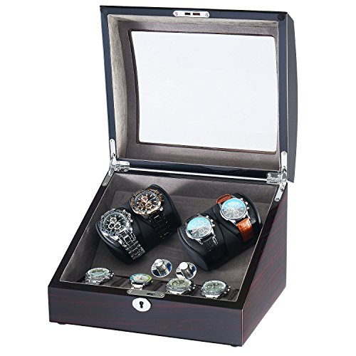 (OLYMBROS Wooden Quad Automatic Watch Winder Organizer for 4 and 4 Watch Storage Box)