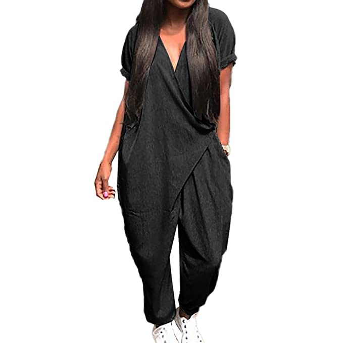a79d5f7e41a Hibote Summer Jumpsuit for Women Ladies V Neck Short Sleeves Loose Playsuit  with Harem Pants Fashion Casual Rompers Overalls One Piece  Amazon.co.uk   ...