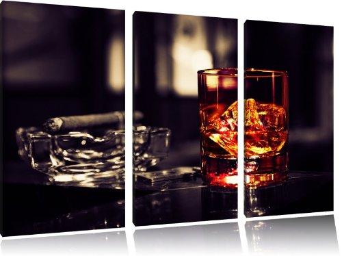 Whisky mit Zigarre, 3-Teiler Leinwandbild 120x80 Bild auf Leinwand, XXL riesige Bilder fertig gerahmt mit Keilrahmen, Kunstdruck auf Wandbild mit Rahmen, gänstiger als Gemälde oder Ölbild, kein Poster oder Plakat