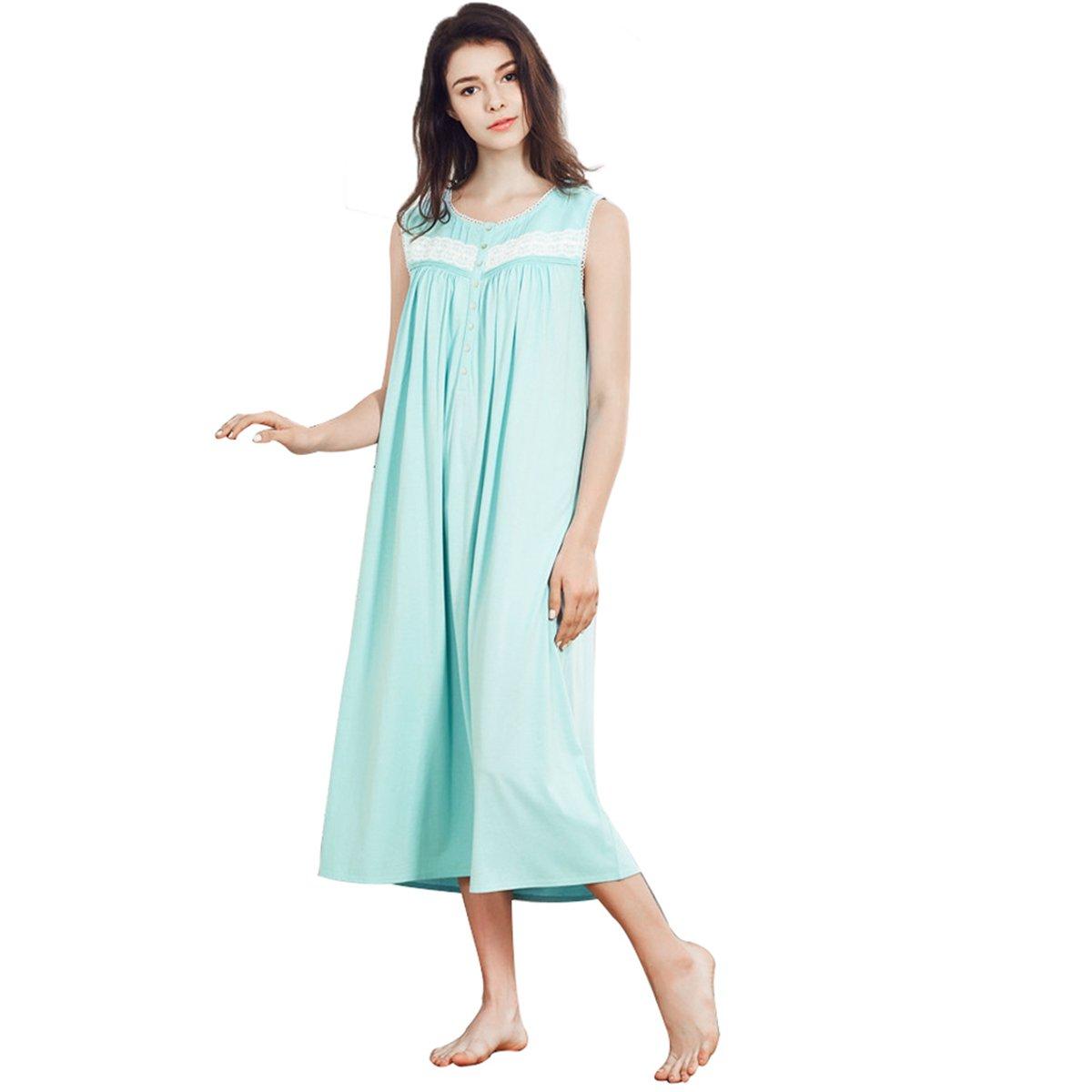 Dorekim Women s 100% Cotton Sleeveless Round Neck Long Sleepwear Nightgown  DK6808 (S)  Amazon.co.uk  Clothing 1c25e29a5