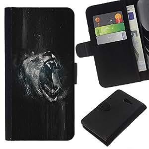 JackGot ( Roaring Lion B & W ) Sony Xperia M2 la tarjeta de Crédito Slots PU Funda de cuero Monedero caso cubierta de piel