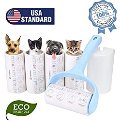Veehoo Lint Roller - Pet Hair Remover Rollers - Extra Sticky Dog & Cat Fur Removal Tool with 4 Refills, 300 Sheets Total, Blue