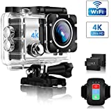 Action Camera, ONEDAY UHD 4K/30fps 16MP WiFi 2 LCD 30m Waterproof 4X Zoom Underwater Camera with EIS,Remote Control, 170° Wide Angle, 2 Rechargeable Batteries and 24 Mounting Accessories Kit (Silver)