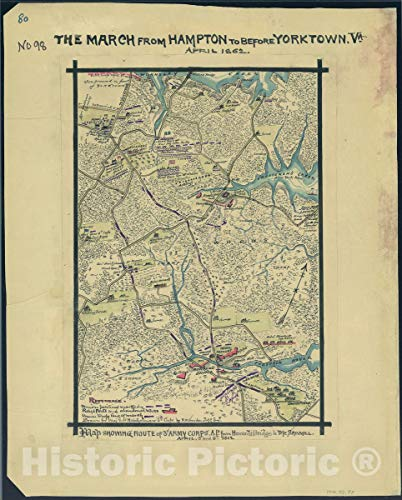 Historic 1862 Map - The March from Hampton to Before Yorktown, Va, April 1862. Map Showing Route of 3rd Army Corps. A.P. from Howard's Bridge to The Sawmill, April 5 ()