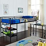 WE Furniture Twin Low Loft Metal Bed, Black