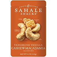 Sahale Snacks Tangerine Vanilla Cashew-Macadamia Glazed Nut Mix, 4 oz. – Nut Snacks in a Resealable Pouch, Paleo Snacks with No Artificial Flavors, Preservatives or Colors, Gluten-Free Snacks