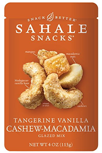 (Sahale Snacks Tangerine Vanilla Cashew-Macadamia Glazed Nut Mix, 4 oz. - Nut Snacks in a Resealable Pouch, Paleo Snacks with No Artificial Flavors, Preservatives or Colors, Gluten-Free Snacks)