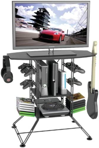 Atlantic Centipede Game Storage TV-Stand – 37 inch TV Stand, Durable Wire Construction with Game Storage, Organize Your Games, Controllers, 4 Game Consoles and More PN 45506147 in Black
