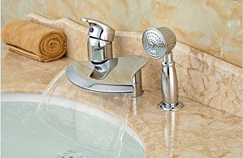GOWE Polished Chrome Brass Bathroom Tub Faucet 3 PCS Vessel Sink Mixer Tap W/ Hand Shower 0