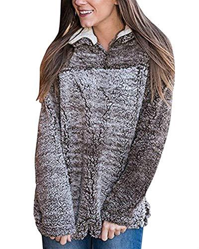 Size Colletto color Top Pile Autunno Stile Qinch Jumper Pullover Rosa Womens Fleece Manica Xxl Felpe Beige Inverno Maglione Speciale Stand Sherpa Long Pebble UnwRxSWxZ