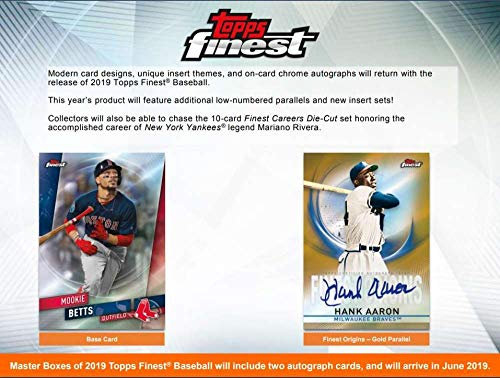 2019 Topps Finest Baseball Hobby Box (12 Packs/5 Cards: 2 Autographs)