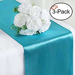 Tiger Chef 3-Pack Turquoise 12 x 108 inches Long Satin Table Runner for Wedding, Table Runners fit Rectange and Round Table Decorations for Birthday Parties, Banquets, Graduations, Engagements