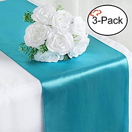 Beau Tiger Chef 3 Pack Turquoise 12 X 108 Inches Long Satin Table Runner For  Wedding